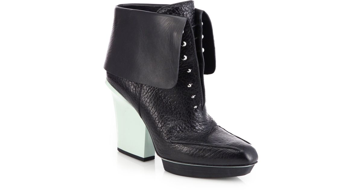 3.1 phillip lim Juno Leather Fold-Over Ankle Boots in Black | Lyst