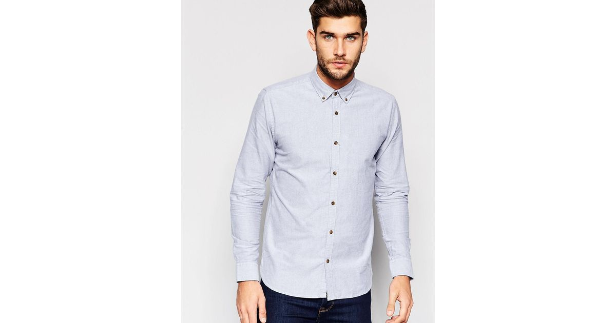 Only sons shirt with button down collar in regular fit for Mens grey button down dress shirt
