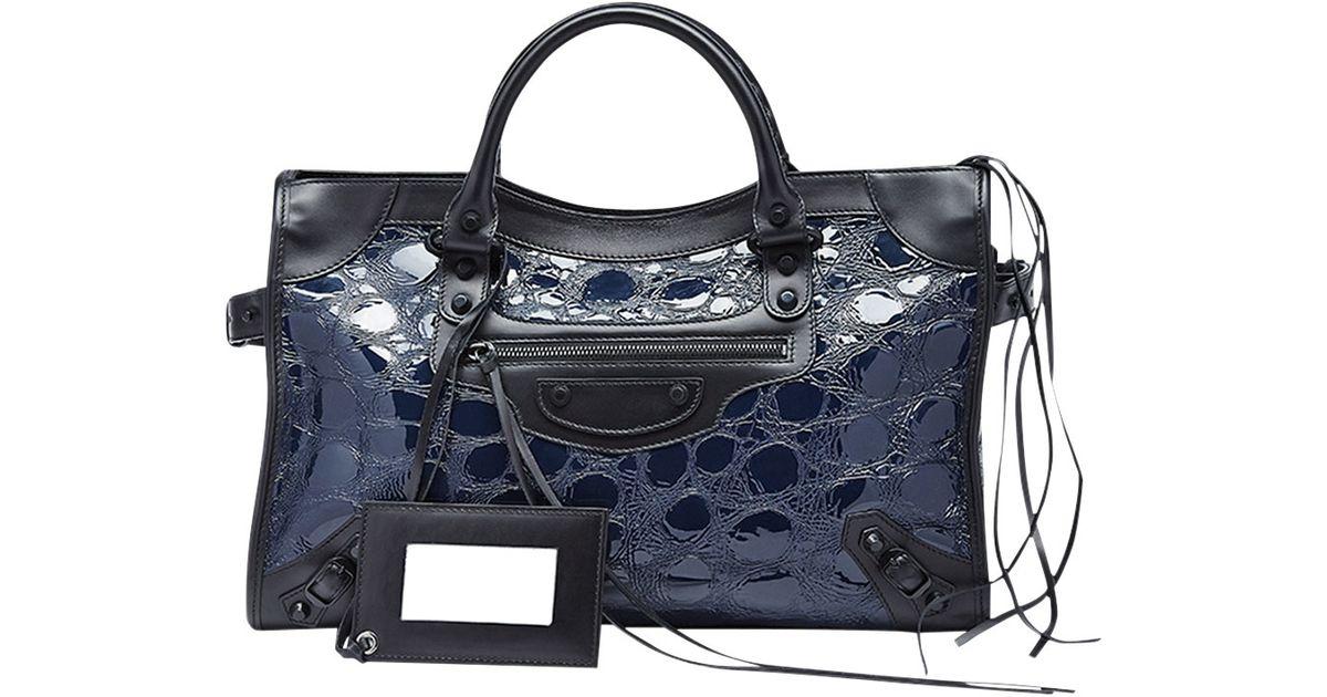 46ab71bf2f Balenciaga Classic City Croc-Embossed Bag in Blue - Lyst