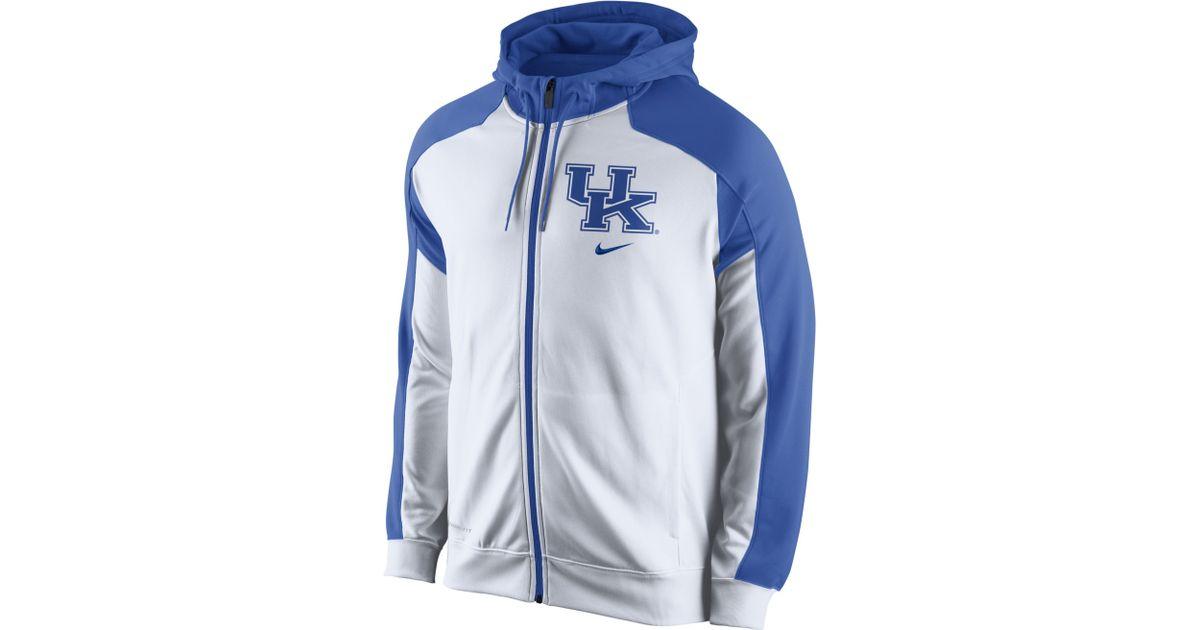 Lyst nike mens kentucky wildcats thermafit fullzip hoodie in blue