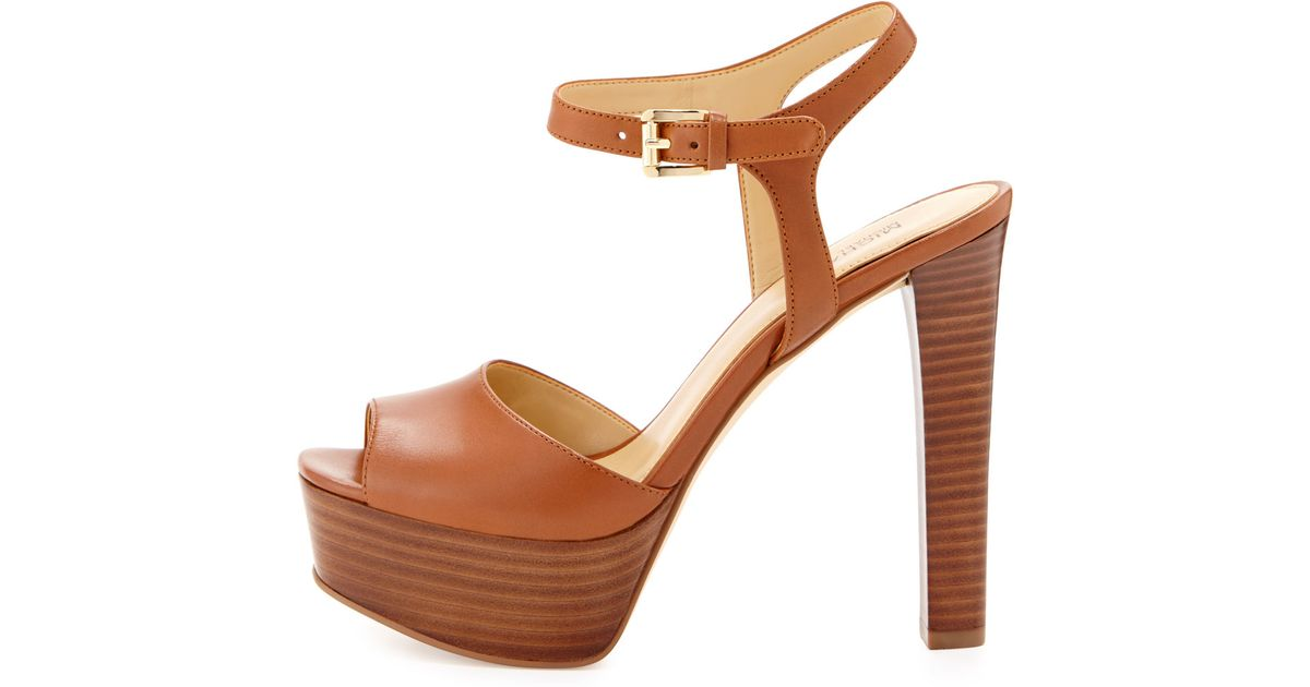ec5ae69a28c5 Lyst - MICHAEL Michael Kors Trish Leather Platform Sandal in Brown