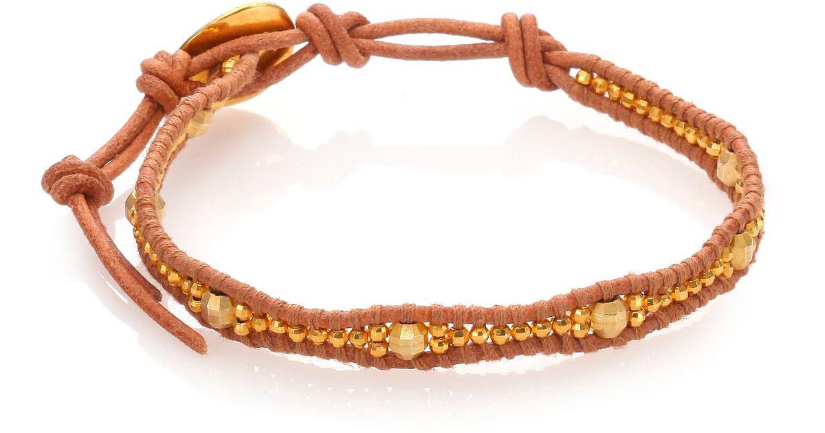 chan luu beaded leather wrap bracelet in metallic lyst
