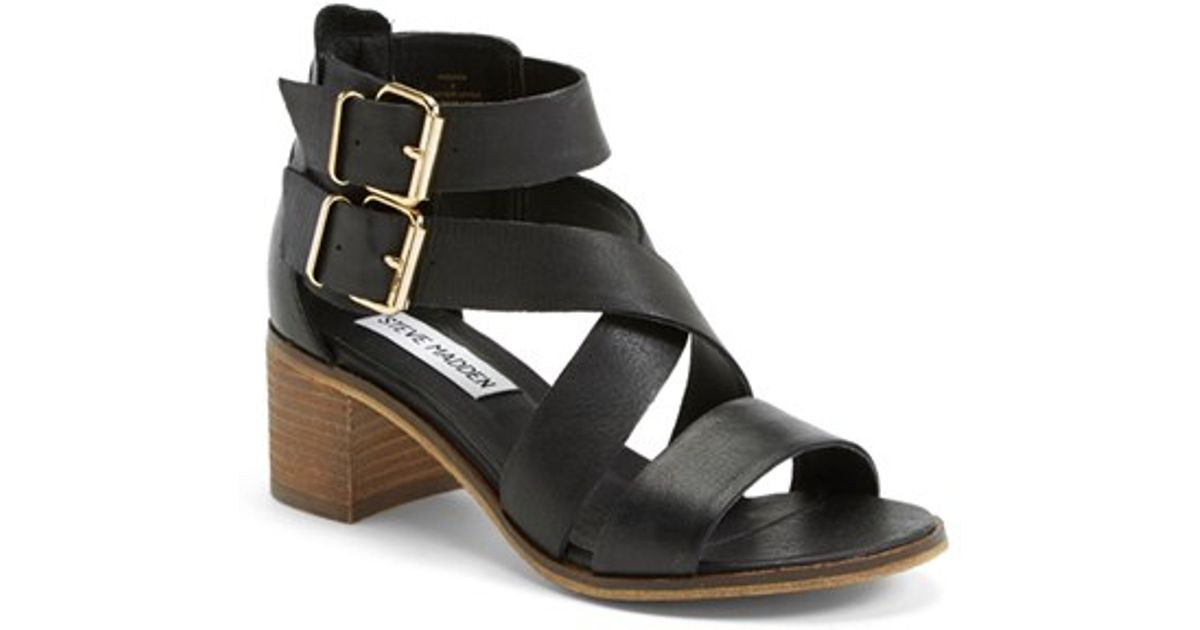 a2b96304f11 Lyst - Steve Madden  rosana  Double Ankle Strap Leather Sandal in Black