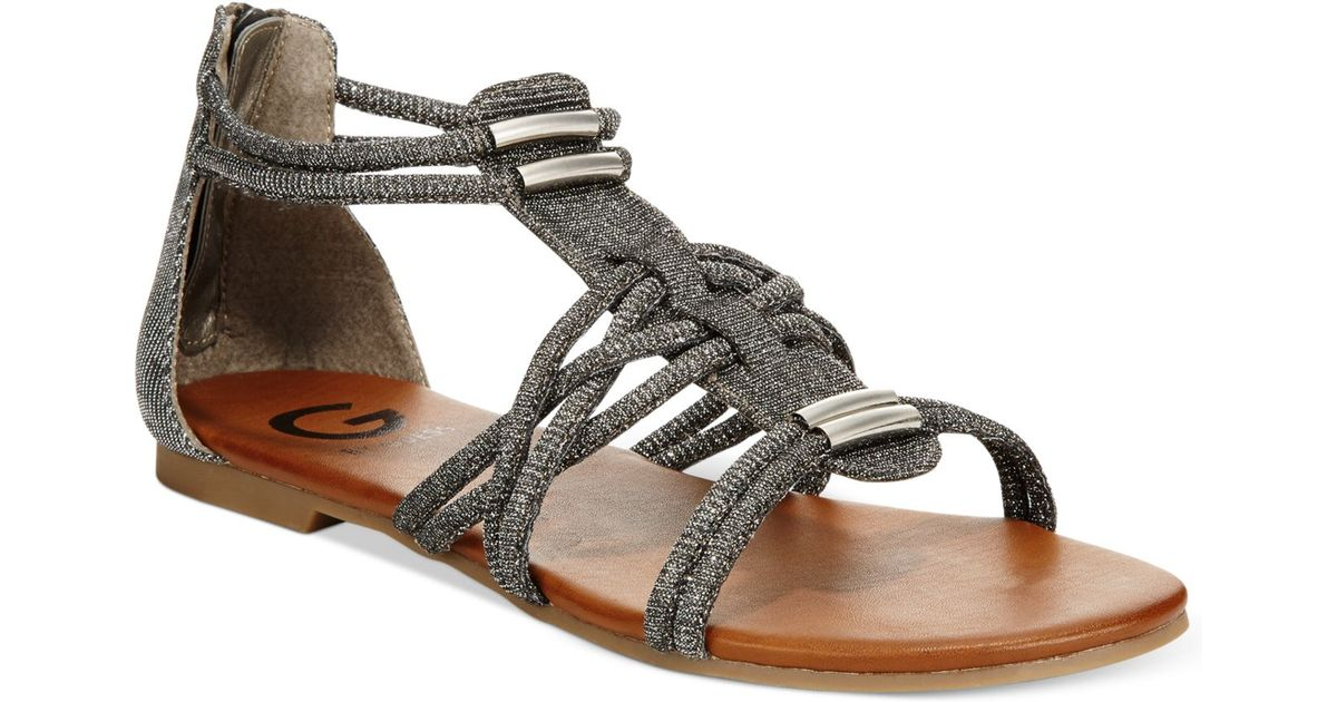 d1977fa27b96 Lyst - G by Guess Learn Flat Gladiator Sandals in Gray