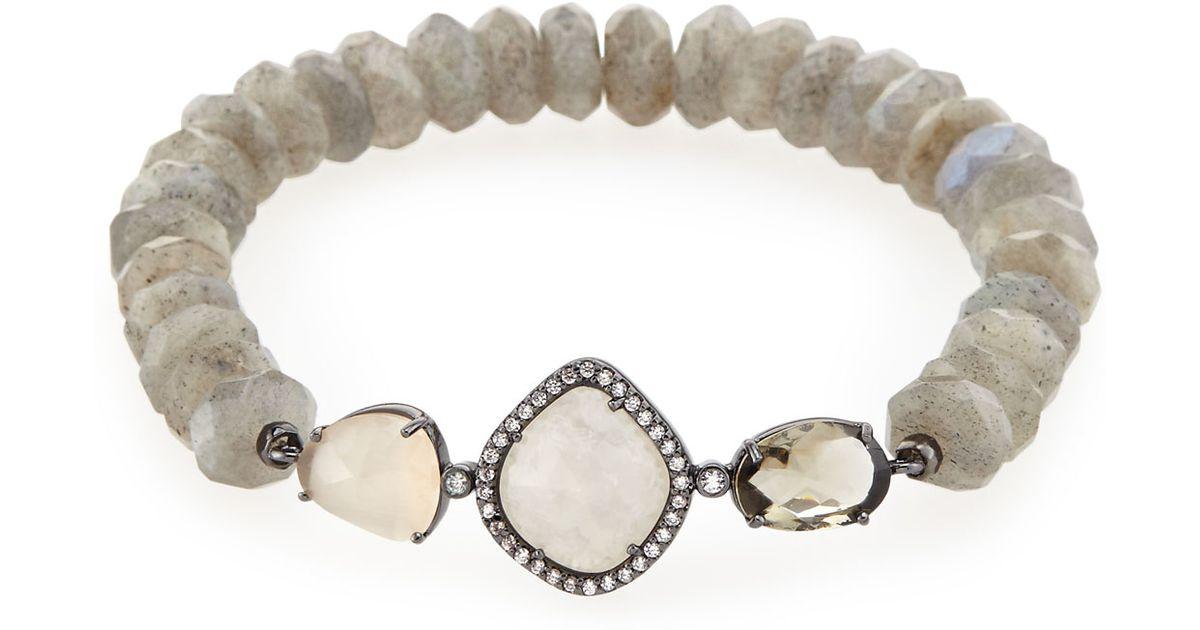 Sydney Evan 8mm Faceted Round Labradorite Beaded Bracelet with Diamond Wing Charm 0REXHyt