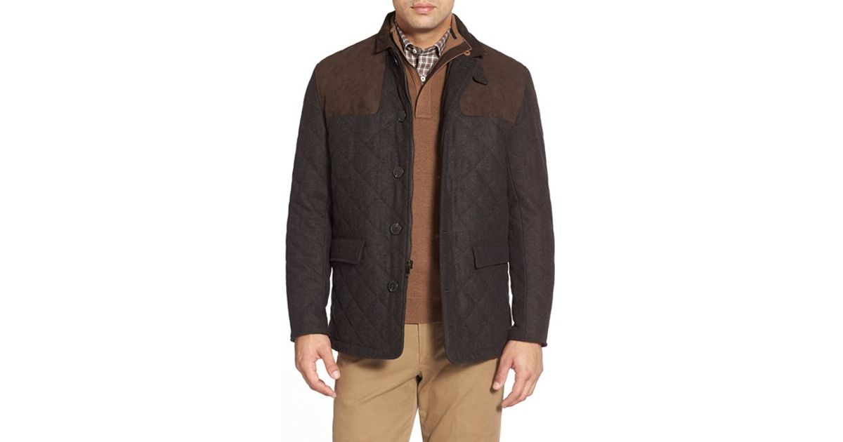 Hart Schaffner Marx 39 Shooter 39 Wool Blend Quilted Jacket In