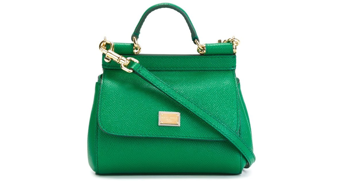 Lyst - Dolce   Gabbana Sicily Mini Leather Tote in Green 19a4e11906408