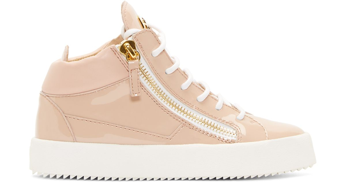 Lyst - Giuseppe Zanotti Pink Patent Leather High top Sneakers in Pink fd11139b87dc