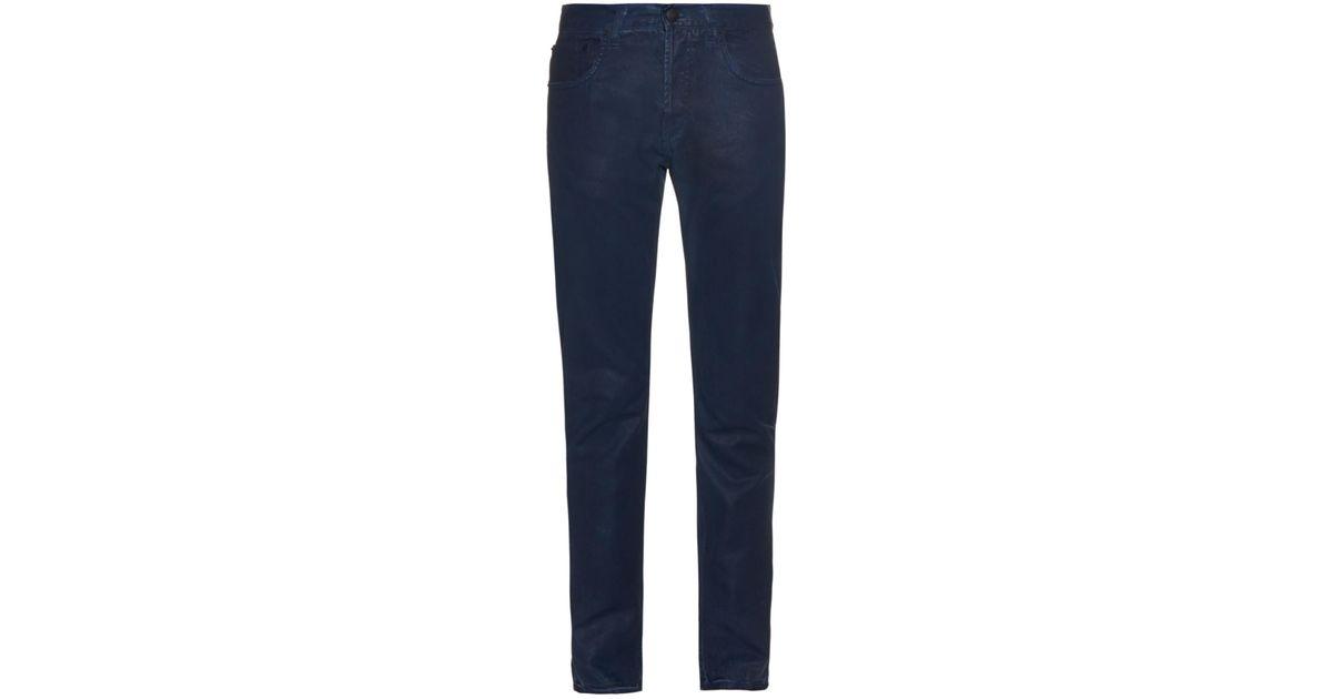 5c3600dd3177 Lyst - Alexander McQueen Coated Straight-leg Jeans in Blue for Men