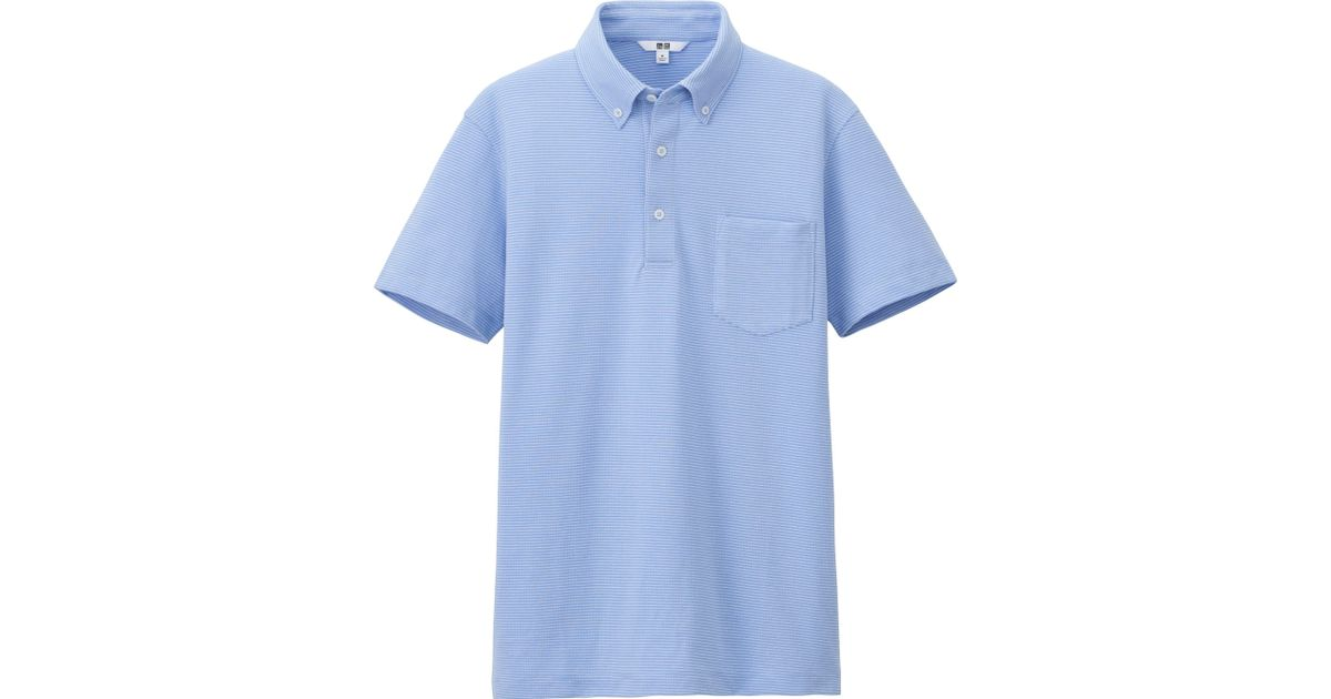 Uniqlo men dry shirt collar polo shirt button down in for Polo shirts without buttons