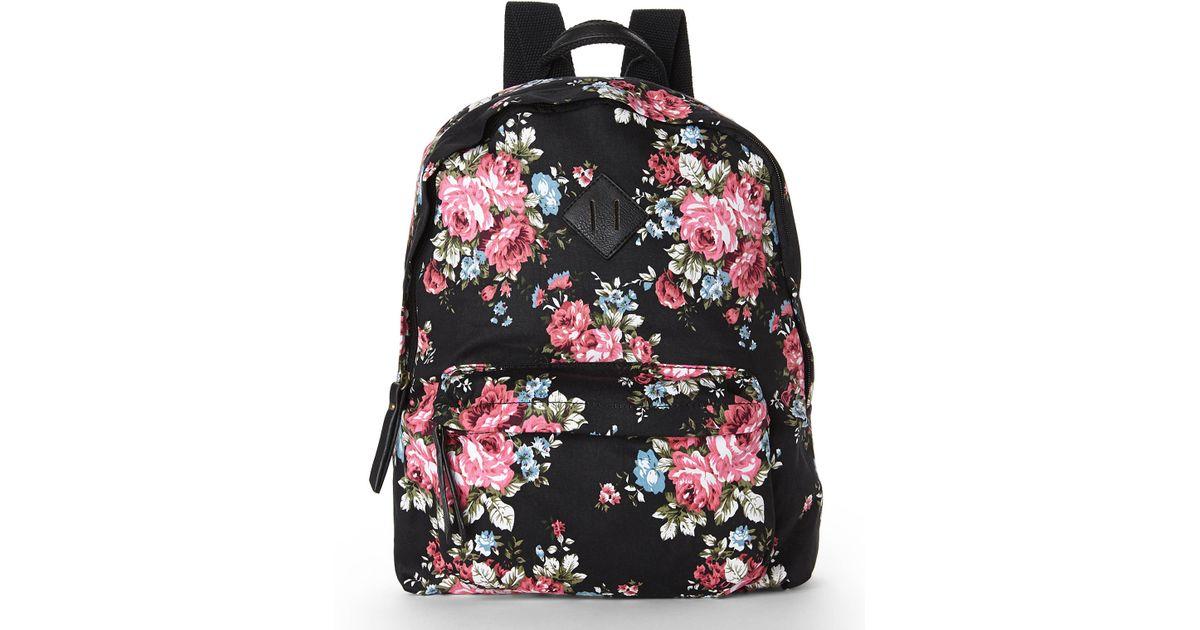 82e9aa4cbf4 Madden Girl Black & Rose Floral Backpack - Lyst