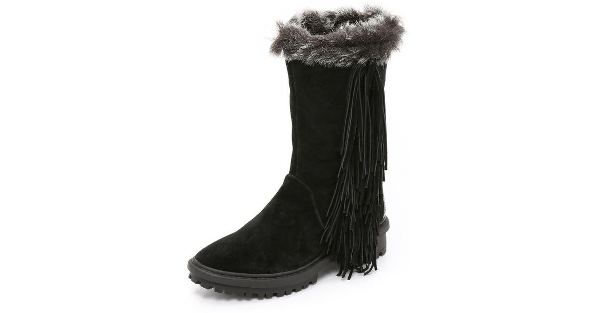 0baab342123f8d Lyst - Sam Edelman Tilden Faux Fur Lined Fringe Boots - Mocha Latte in Black