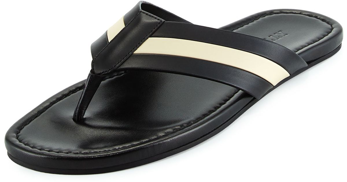 bf82a6b498a Lyst - Bally Venzio Calf Leather Thong Sandal in Black for Men