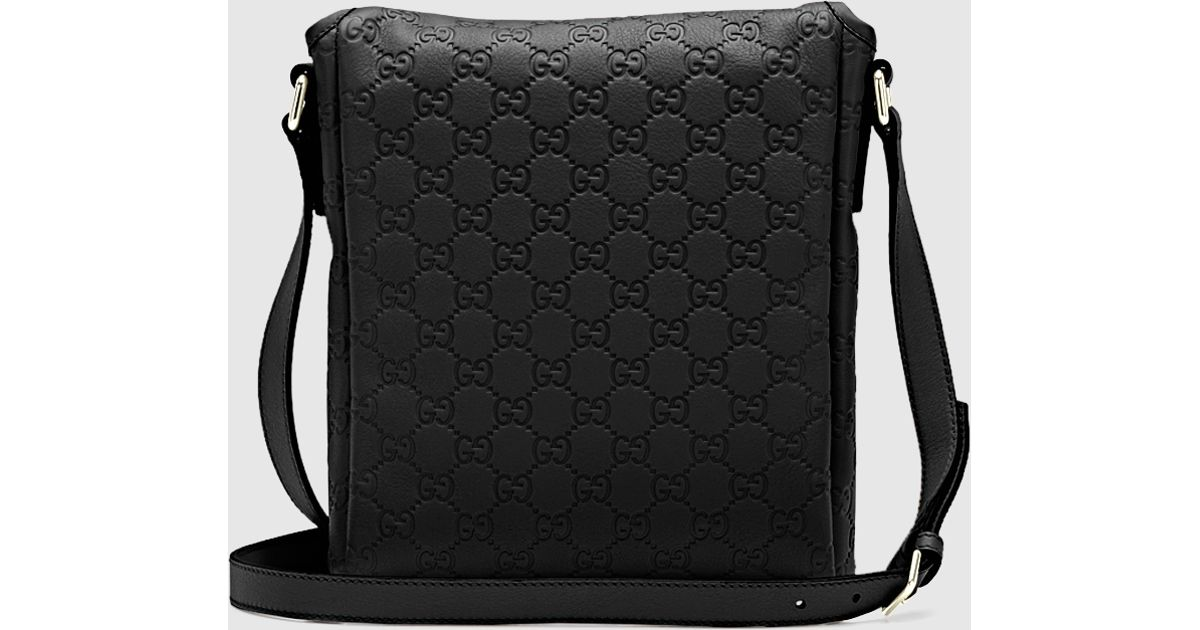 3060f62d13c0 Gucci Black Ssima Leather Messenger Bag in Black for Men - Lyst
