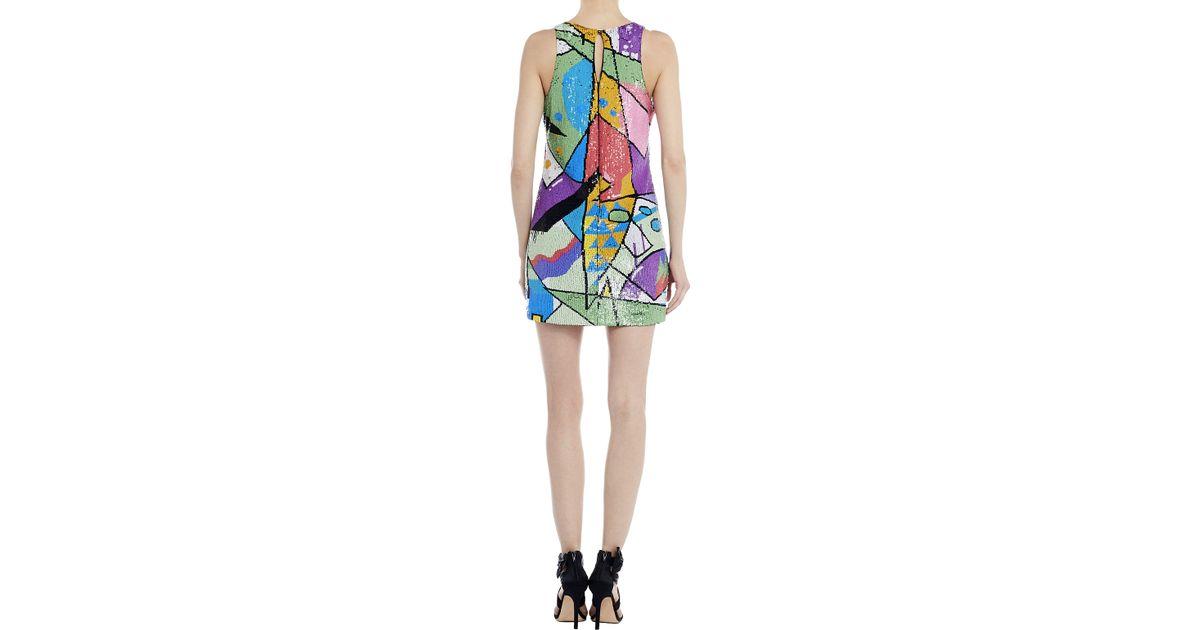 nicole miller arrow mural sequins dress in multicolor lyst. Black Bedroom Furniture Sets. Home Design Ideas