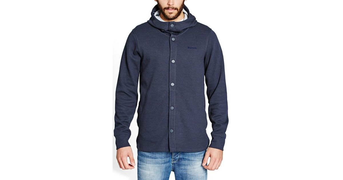 Bench 39 combustion 39 snap front hoodie in blue for men lyst for Mens shirts with snaps instead of buttons