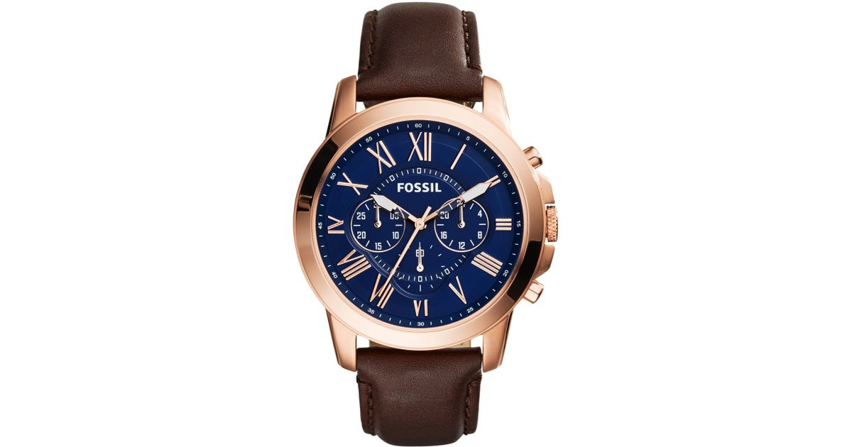 aec0bda12c37b Fossil Men s Grant Chronograph Leather Strap Watch in Blue for Men - Lyst