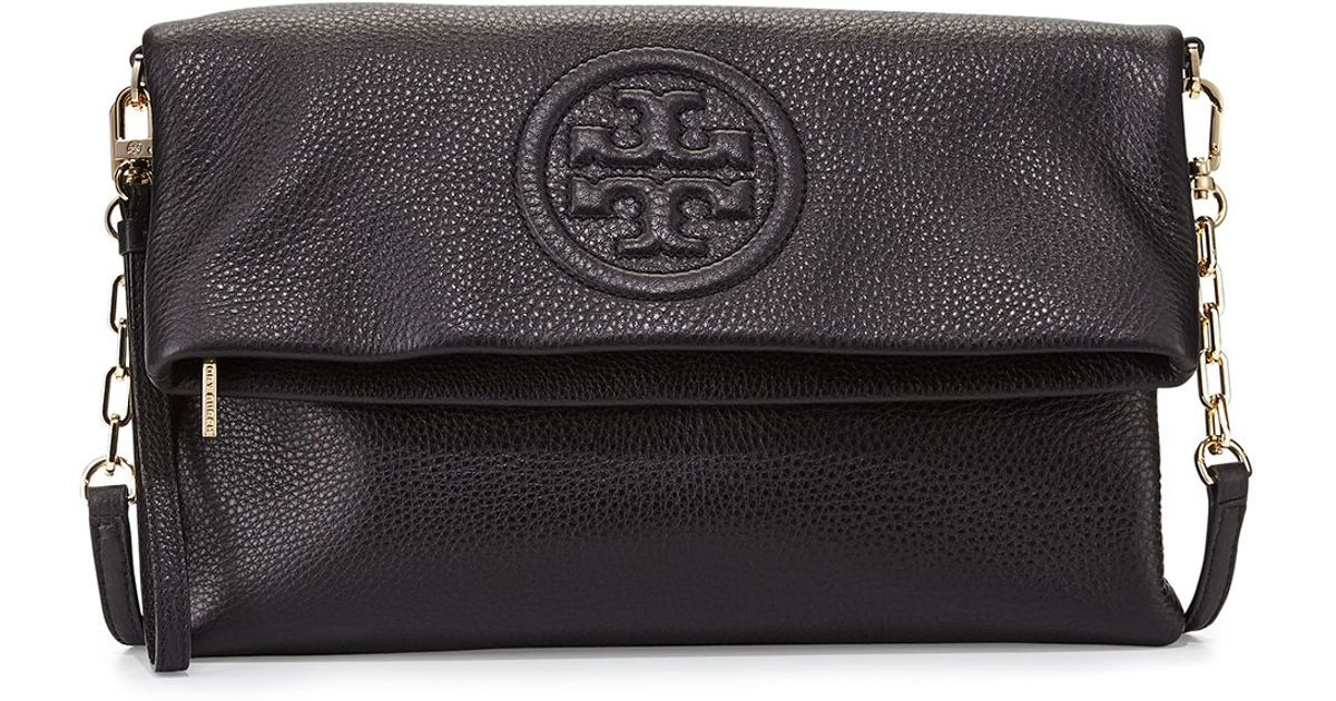 eec76d10249f Lyst - Tory Burch Bombe Fold-over Clutch Bag in Black