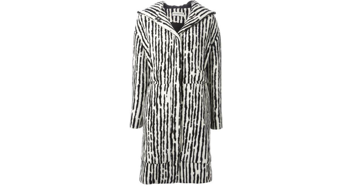 1cc7a53396b Balenciaga Hooded Zebra Print Coat in White - Lyst