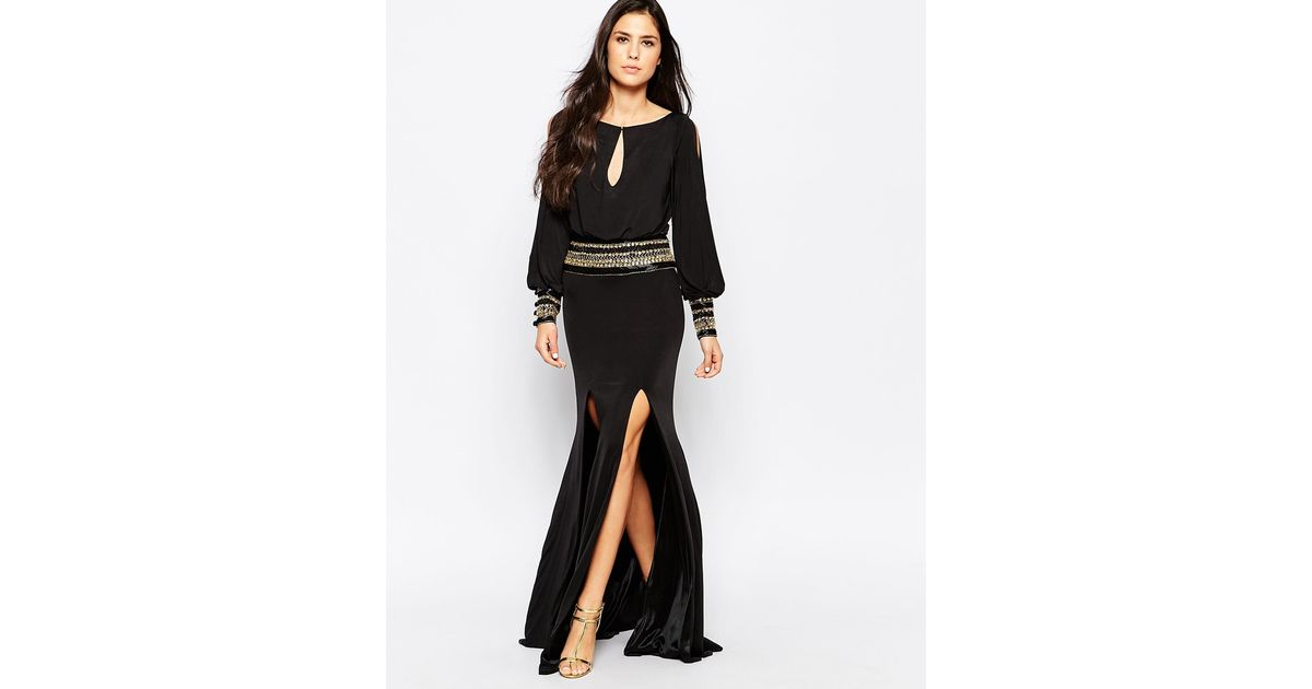 51bb905075e Forever Unique Mel Maxi Dress With Long Sleeves in Black - Lyst