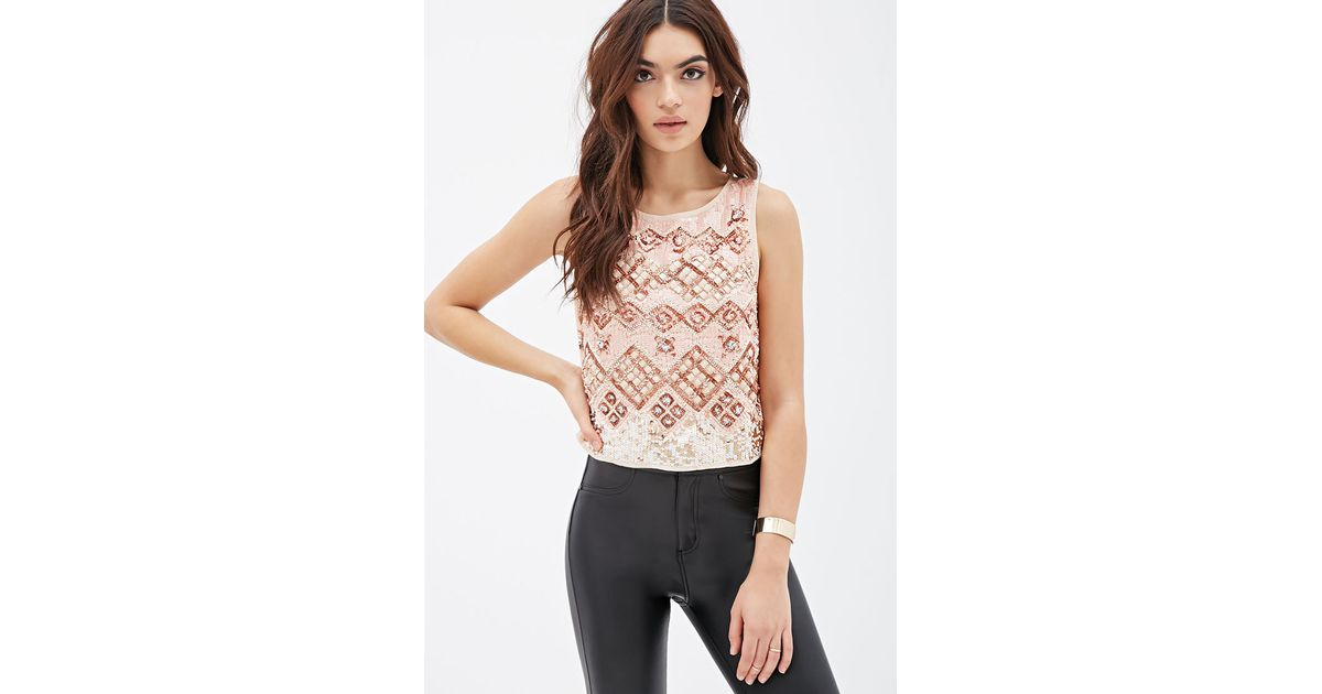 1c62dbdeef1 Lyst - Forever 21 Sequined Geo Pattern Tank in Natural