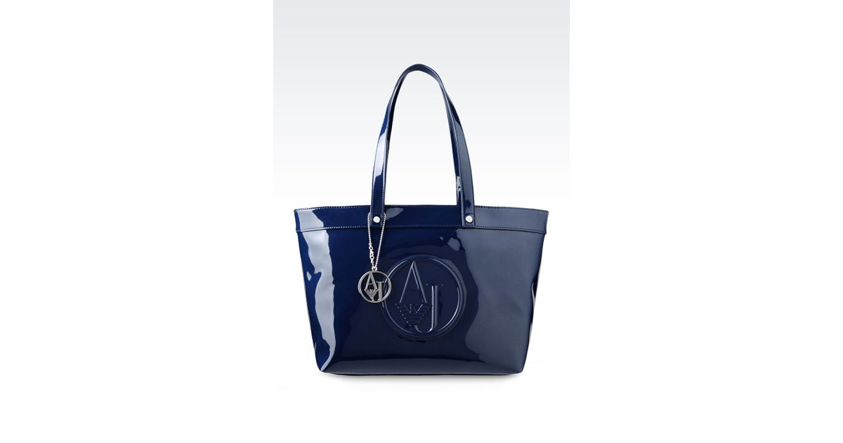 21b5cb015cb6 Lyst - Armani Jeans Shopping Bag In Patent Faux Leather With Pendant in Blue