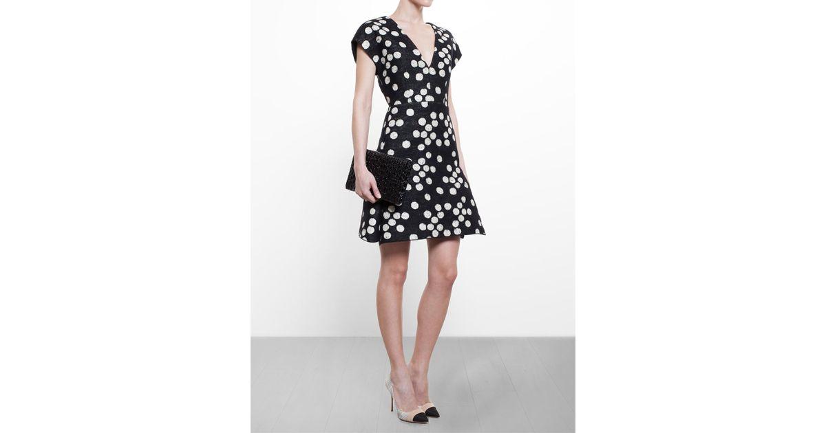 098da4ff35d Giambattista Valli Polka Dot Dress in Black - Lyst