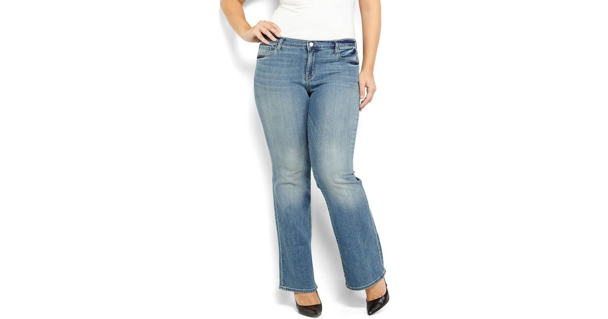 Dkny Plus Size Light Wash Soho Bootcut Jeans in Blue | Lyst