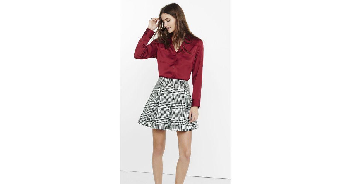 1591e017e2eb0 Lyst - Express Original Fit Silky Crepe Portofino Shirt in Red