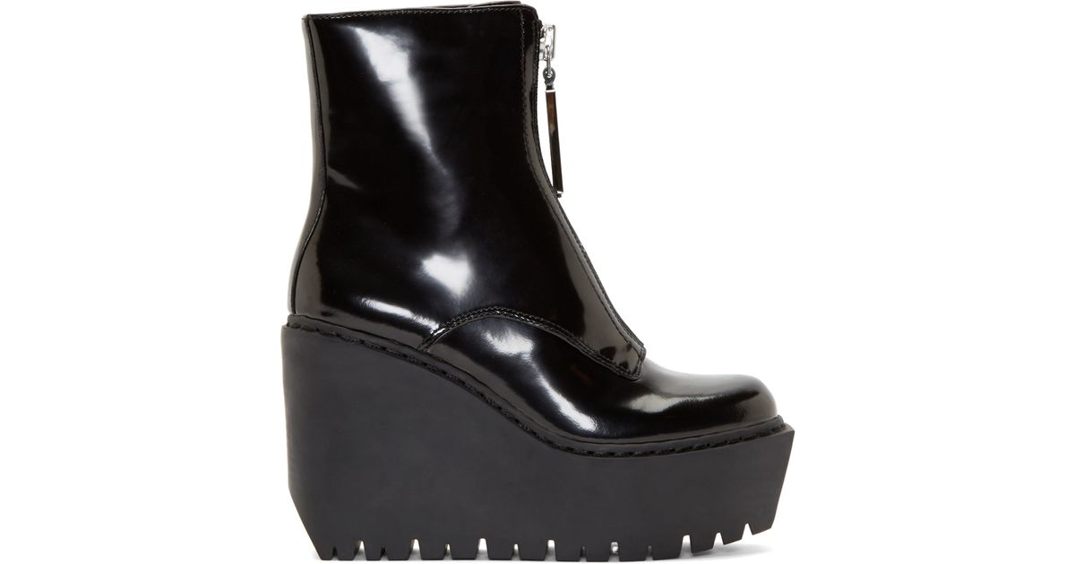 62880d73030e Lyst - Opening Ceremony Black Patent Leather Luna Wedge Boots in Black