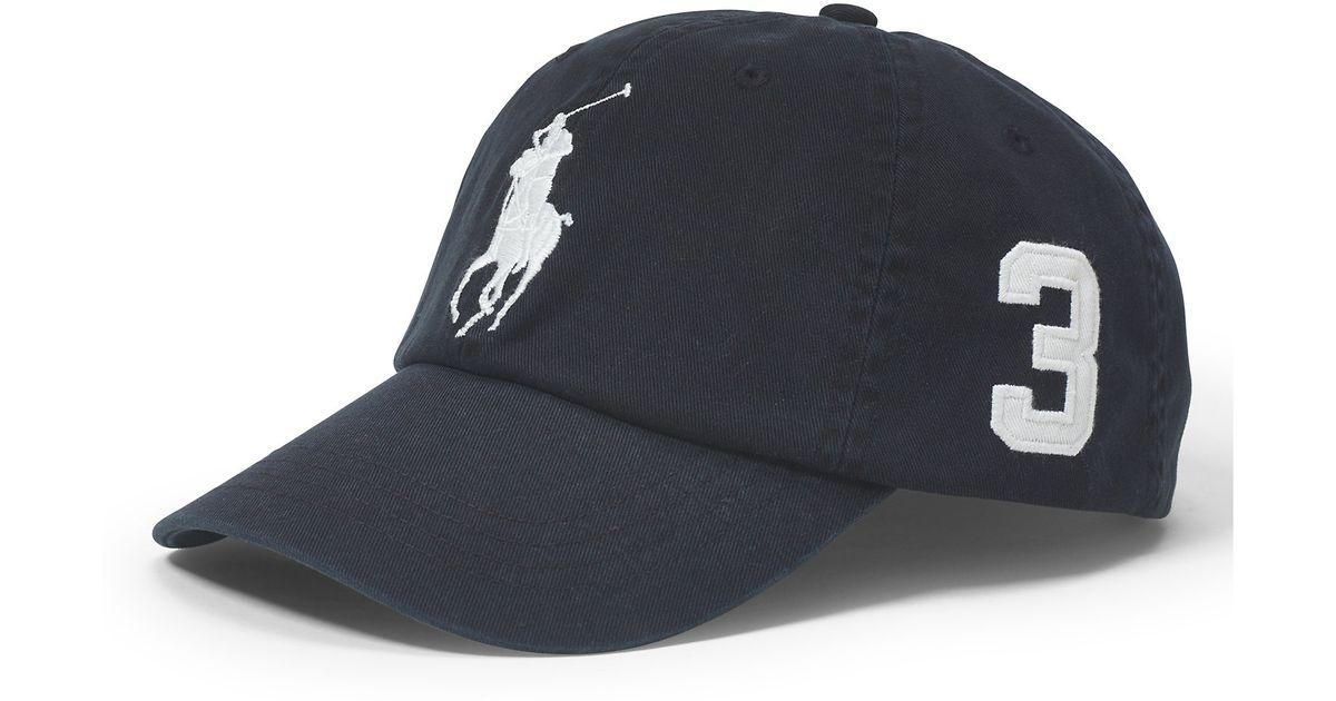 Lyst - Polo Ralph Lauren Big Pony Chino Baseball Cap in Black for Men dfc9b5fcc2d