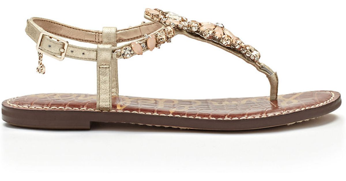 9de4920d201355 Lyst - Sam Edelman Garen Jeweled Leather T-Strap Sandals in Natural