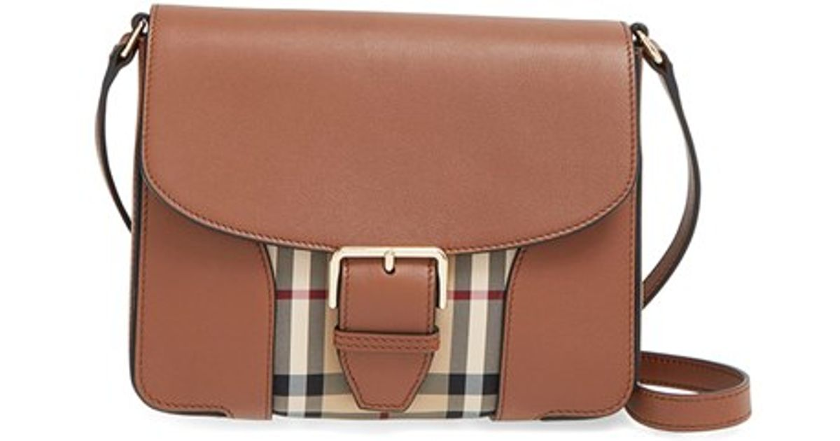 burberry small dickens horseferry check crossbody bag in brown lyst check small