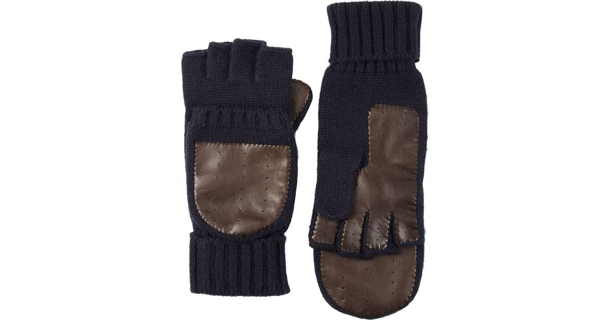 56c718b43 Barneys New York Knit & Leather Convertible Fingerless Gloves in Brown for  Men - Lyst