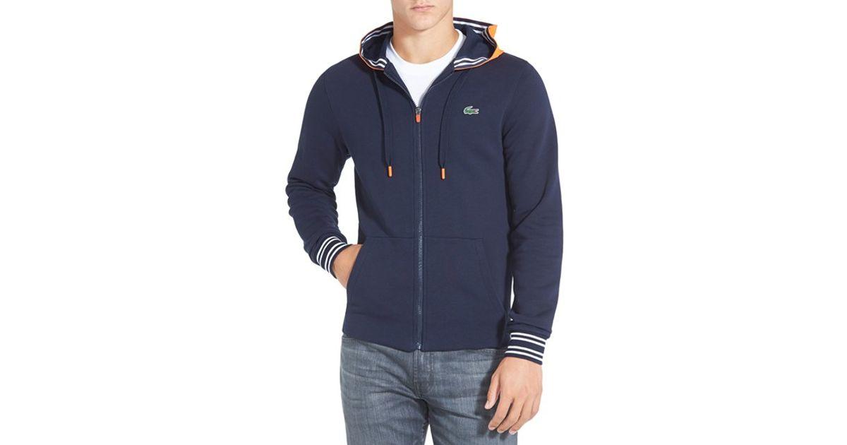 9e6f31cfa252d5 Lyst - Lacoste  sport T1  Brushed Fleece Full Zip Hoodie in Blue for Men
