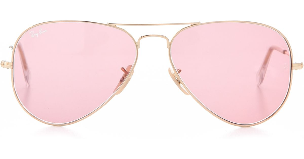 Lyst - Ray-Ban Aviator Sunglasses in Pink 67a2e57c1f0a