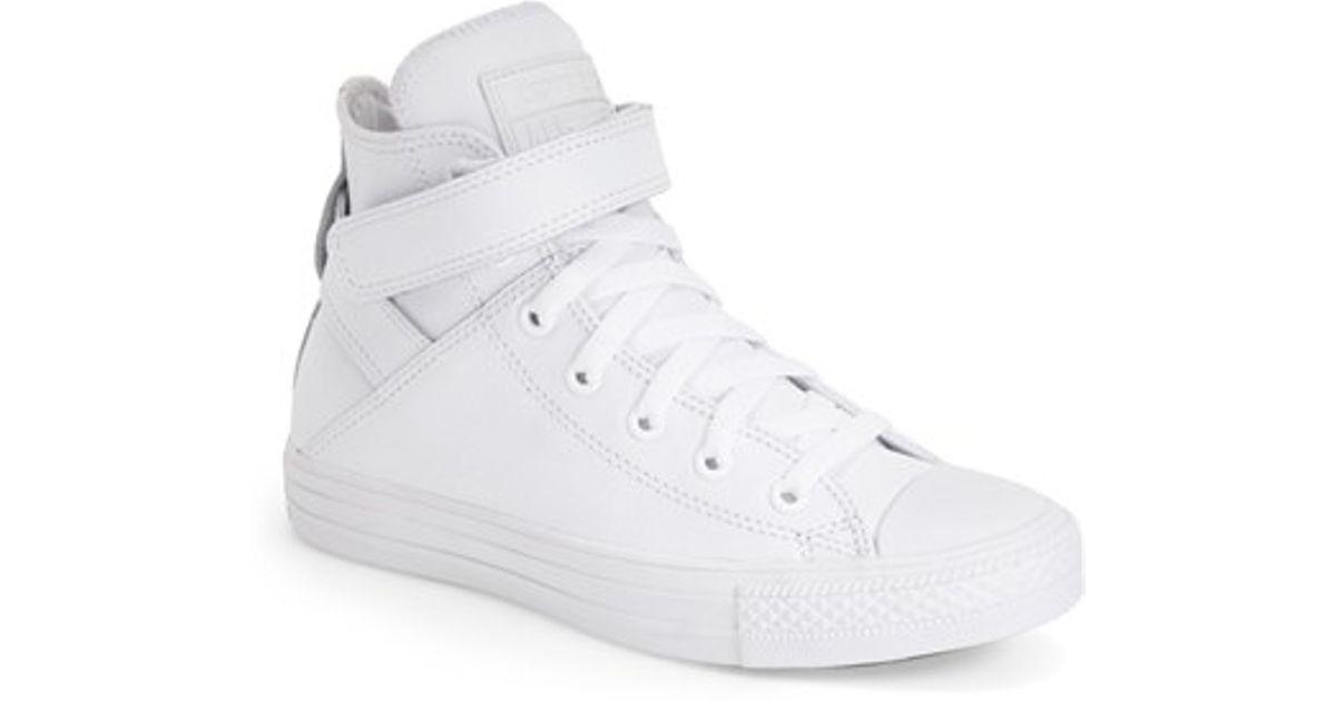 7322e8883f9 Lyst - Converse Chuck Taylor All Star  Brea  Leather High Top Sneaker in  White