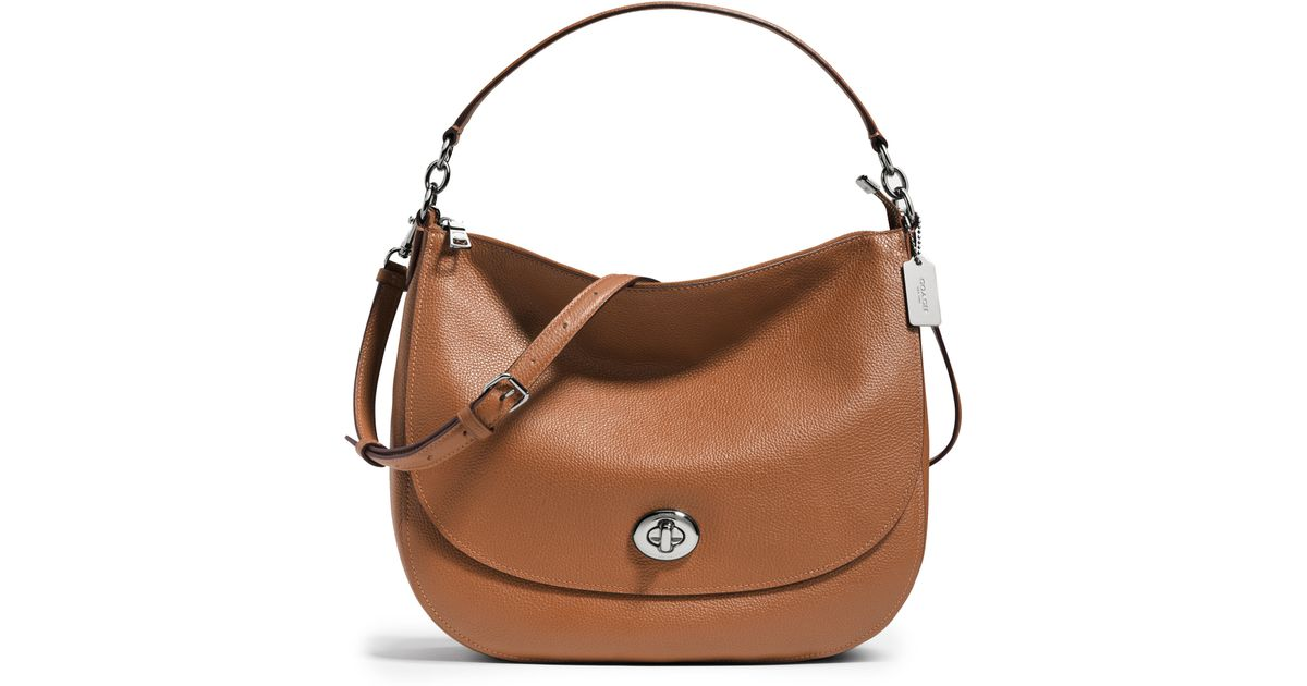 c42b0a15e7 ... get lyst coach pebbled leather turnlock hobo bag in brown d00dd 99d55