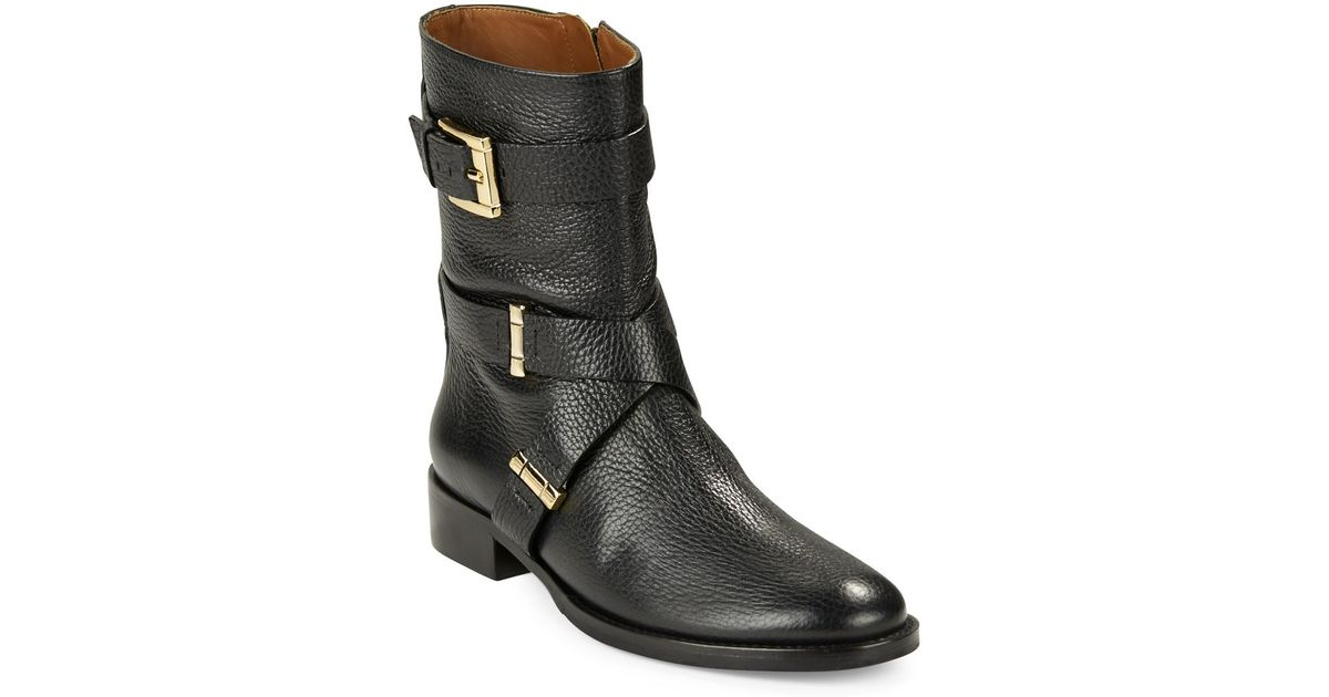 vince camuto signature tunda leather ankle boots in black