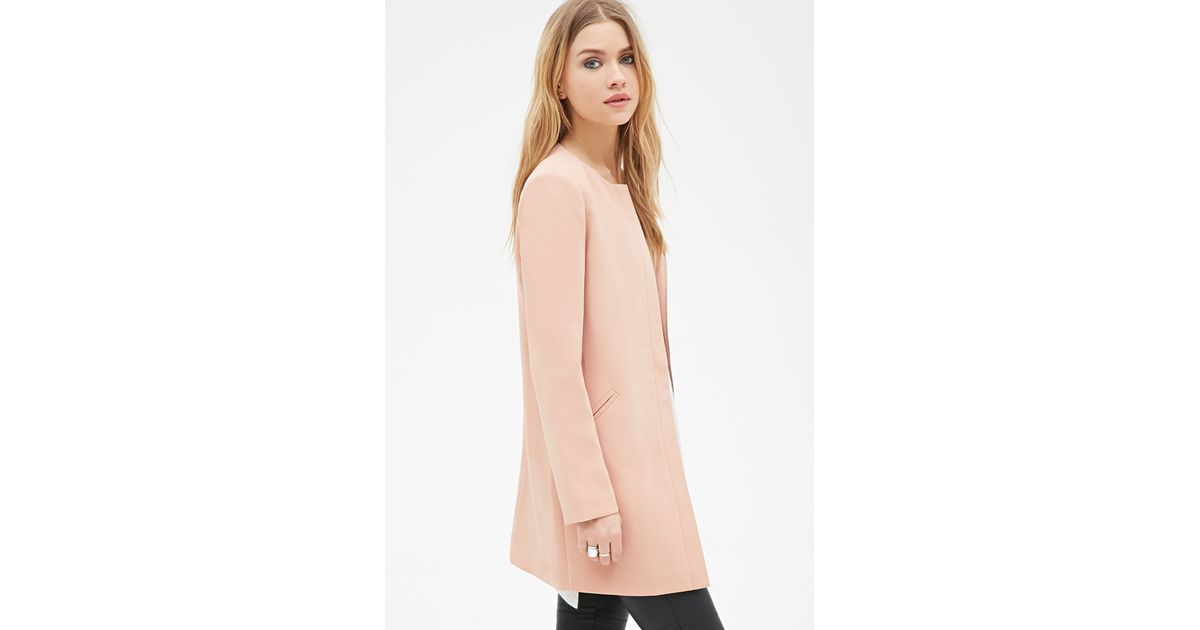 Forever 21 Collarless Longline Jacket in Pink | Lyst