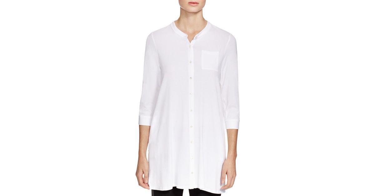 6260492ca18 Eileen Fisher Mandarin Collar Button Down Tunic in White - Lyst