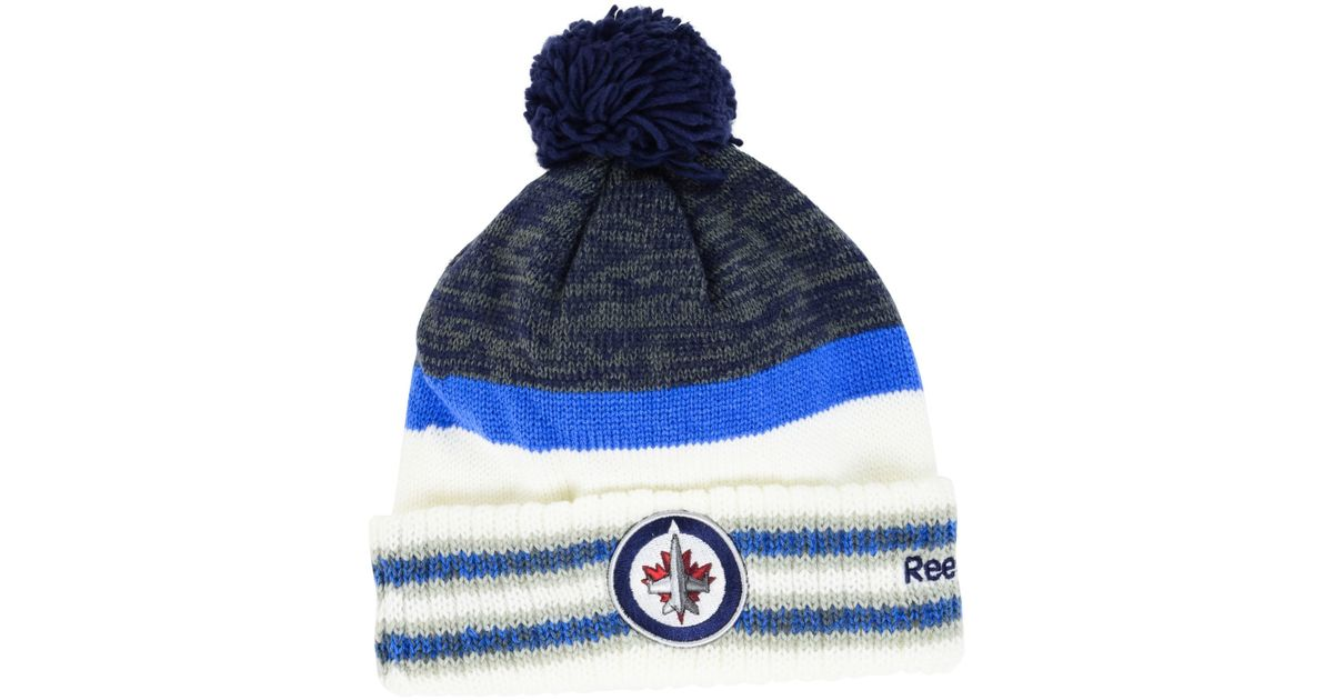 outlet store a8ebc ade5e ... free shipping lyst reebok winnipeg jets pom knit hat in blue for men  e98f6 7ac27 ...