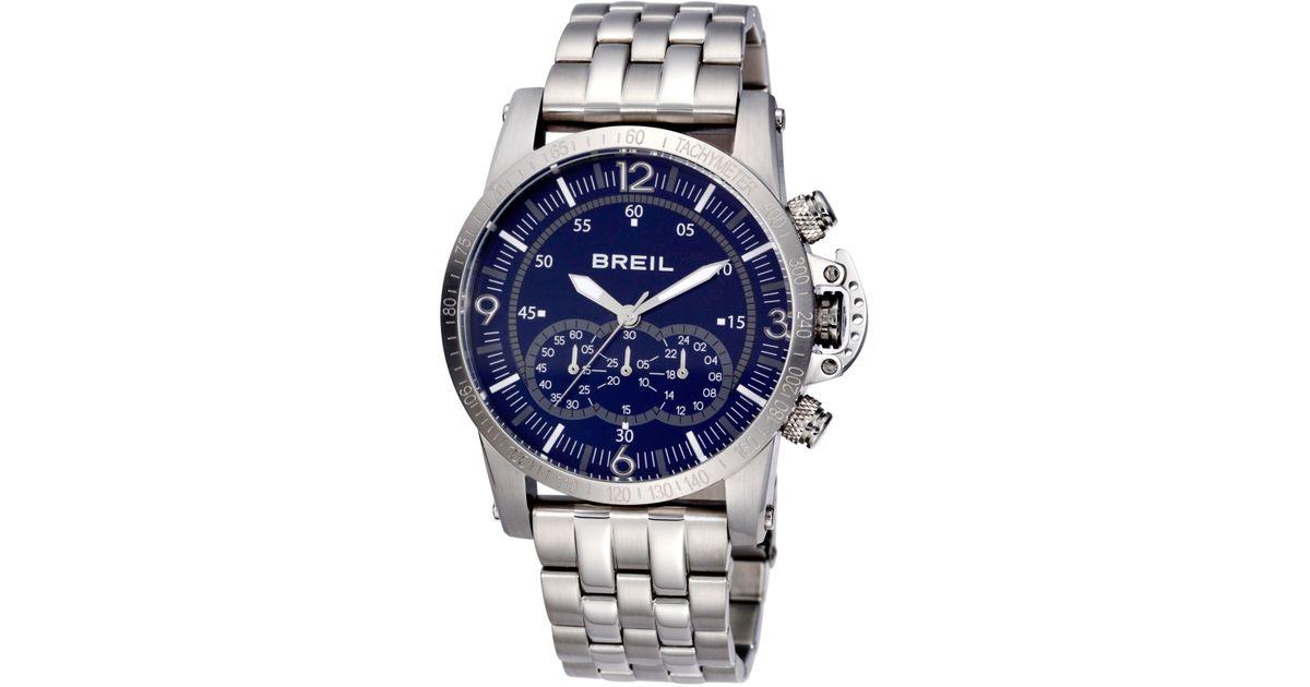 breil s chronograph aviator stainless steel bracelet