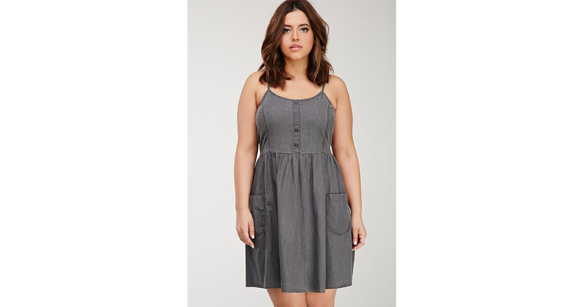641206f631 Lyst - Forever 21 Plus Size Denim Cami Dress You ve Been Added To The  Waitlist in Gray