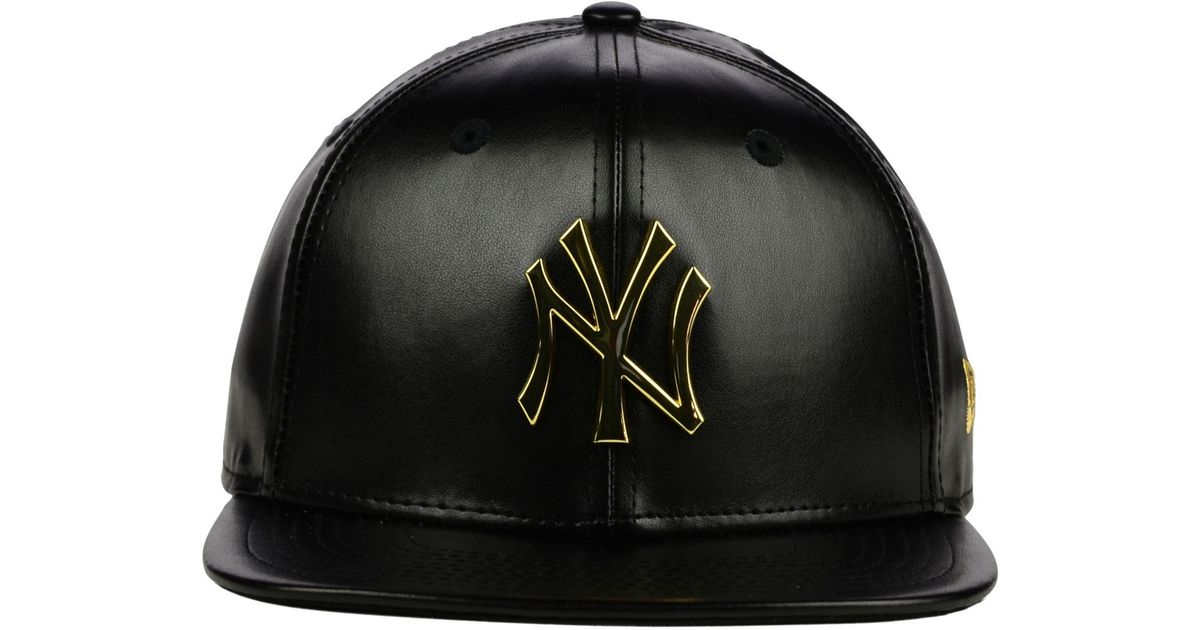 20e3acf8799ea3 ... usa lyst ktz new york yankees faux leather 9fifty strapback cap in black  bf602 bb800