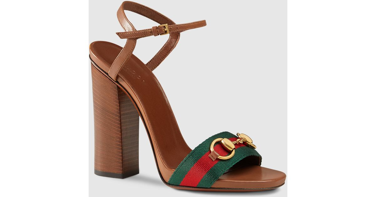 56a03c06c87 Lyst - Gucci Leather Sandal With Web in Brown