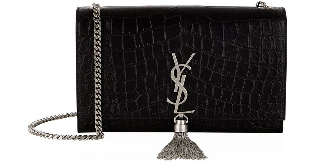 yves saint laurent evening bags - monogram small croc-stamped shoulder bag, white