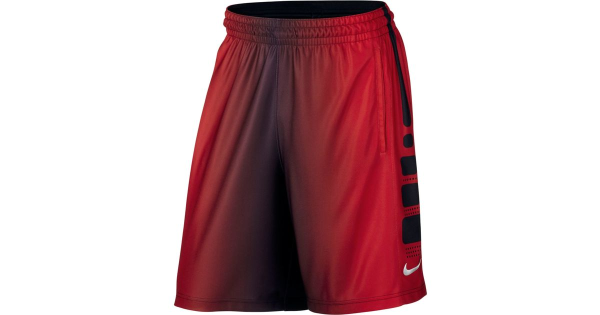 nike mens elite drifit basketball shorts in red for men