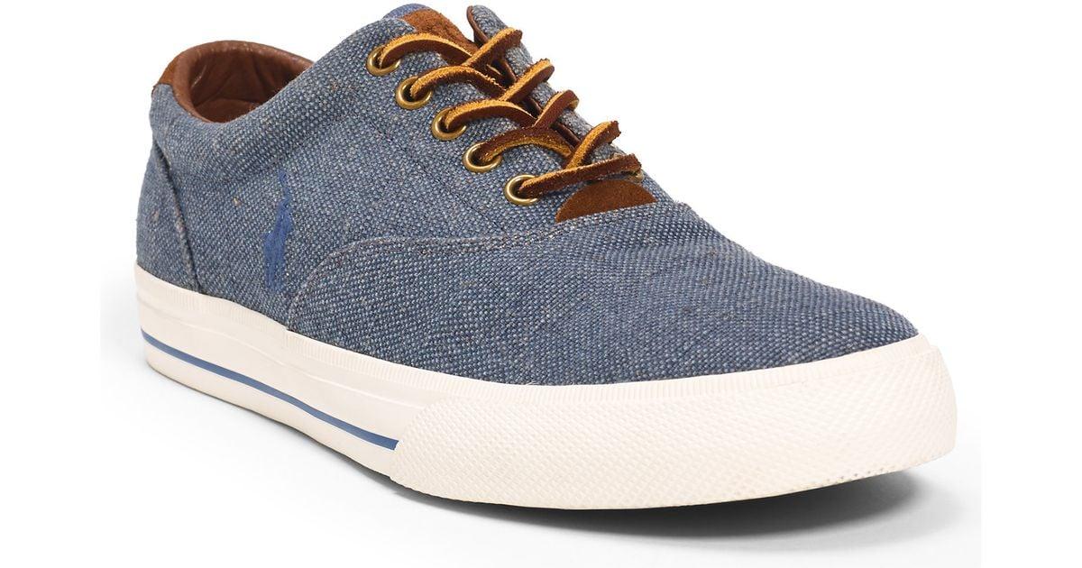 polo ralph lauren vaughn burlap sneaker in blue for men lyst. Black Bedroom Furniture Sets. Home Design Ideas