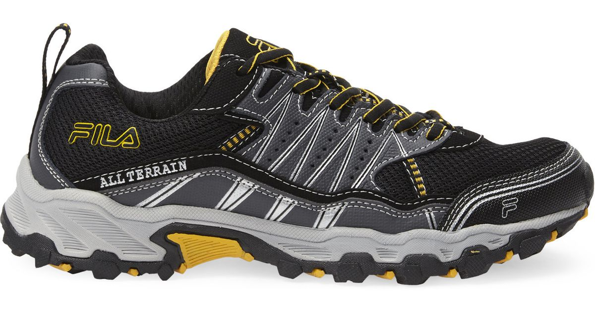 fila black gold all terrain tractile running sneakers in